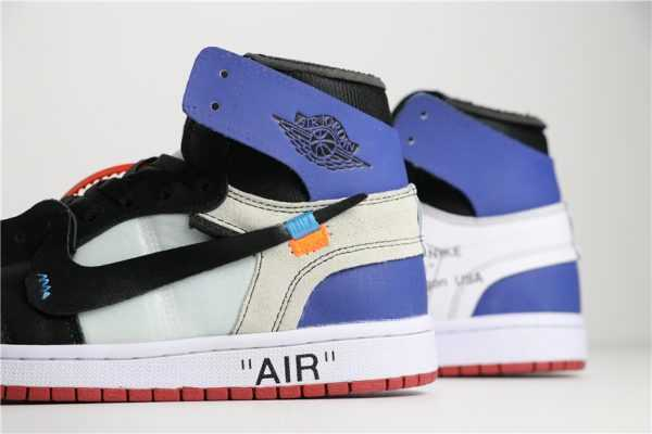 2018 Off-White x Air Jordan 1 Black/White Varsity Royal-Varsity Red Shoes