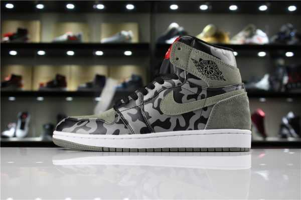 "Air Jordan 1 Retro High Premium ""Shadow Camo"" Black/Dark Stucco-White AA3993-034"