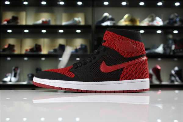 "Men' s and Women' s Air Jordan 1 Retro High Flyknit ""Banned"" Black/Varsity Red-White 919704-001"
