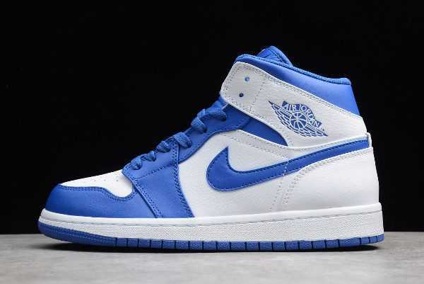 Air Jordan 1 Retro Mid White Hyper Royal For Sale