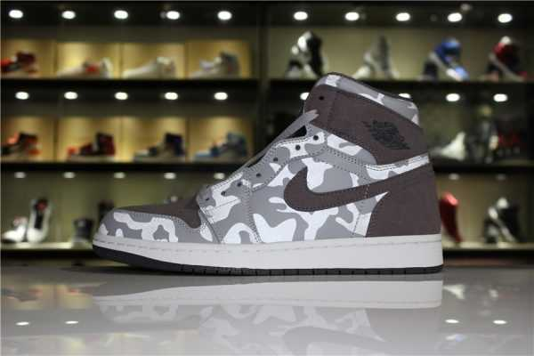 "Newest Air Jordan 1 Retro High ""Camo Pack"" Wolf Grey/Dark Grey-White"