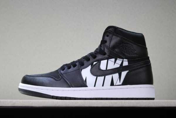 2018 Mens Off-White x Air Jordan 1 ' ike Swoosh' Black/White