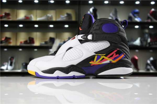 "New Air Jordan 8 Retro ""Three-Peat"" White/Infrared 23-Black-Bright Concord 305381-142"
